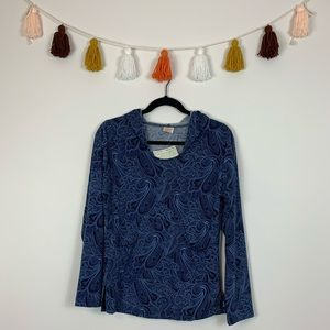 Gypsy Rose Royal Blue Paisley Sweatshirt Free Size